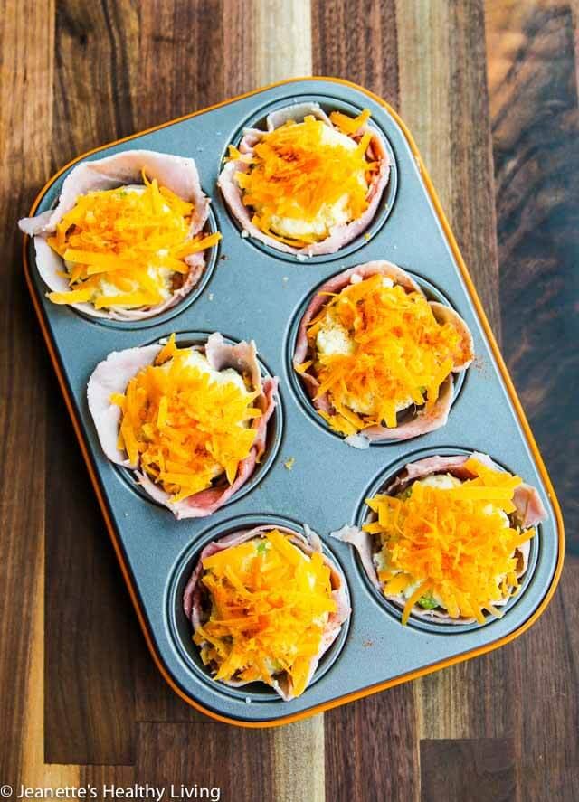 Ham Mashed Potato Breakfast Cups - these are a great way to use up leftover mashed potatoes - serve for breakfast or brunch