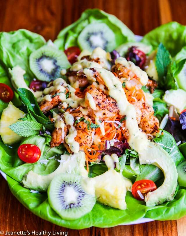 Tropical Shrimp Salad with Mango Mint Lime Dressing - you'll think you're sitting on a beach when you take a bite of this tropical theme salad