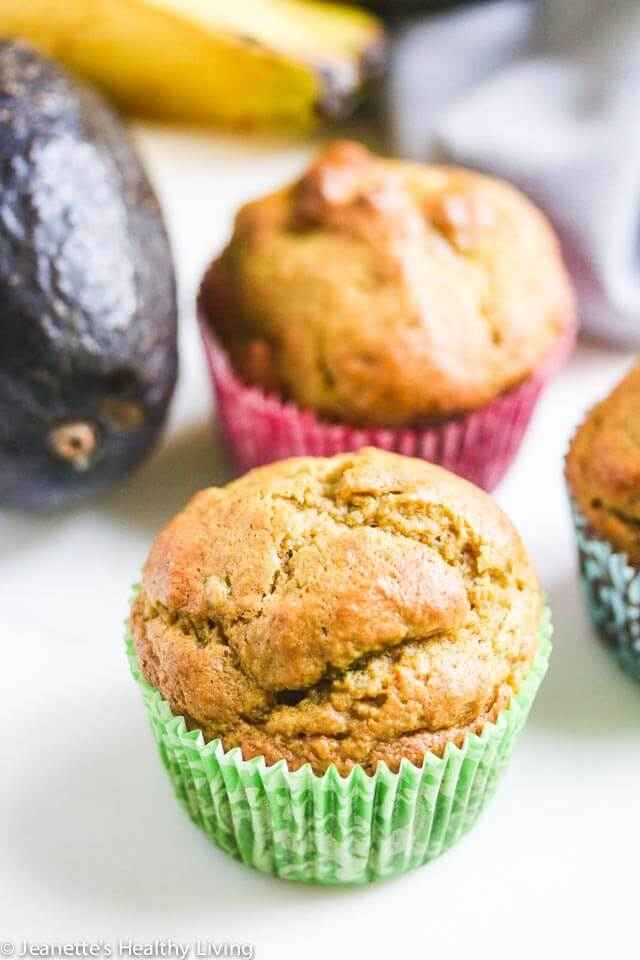 Avocado Banana Whole Wheat Muffins - these healthy muffins use avocado in place of butter and oil