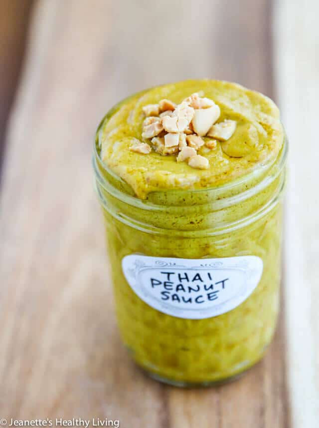 Thai Peanut Sauce - this recipe is a staple in our house - serve it with Thai chicken satay or beef satay skewers | http://jeanetteshealthyliving.com