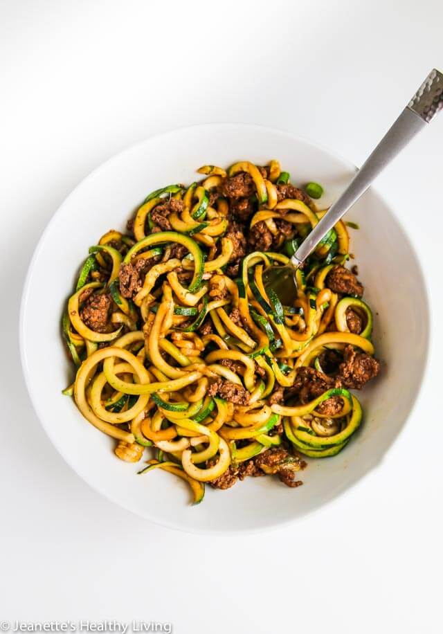 Chinese Five Spice Ground Turkey Zucchini Noodles