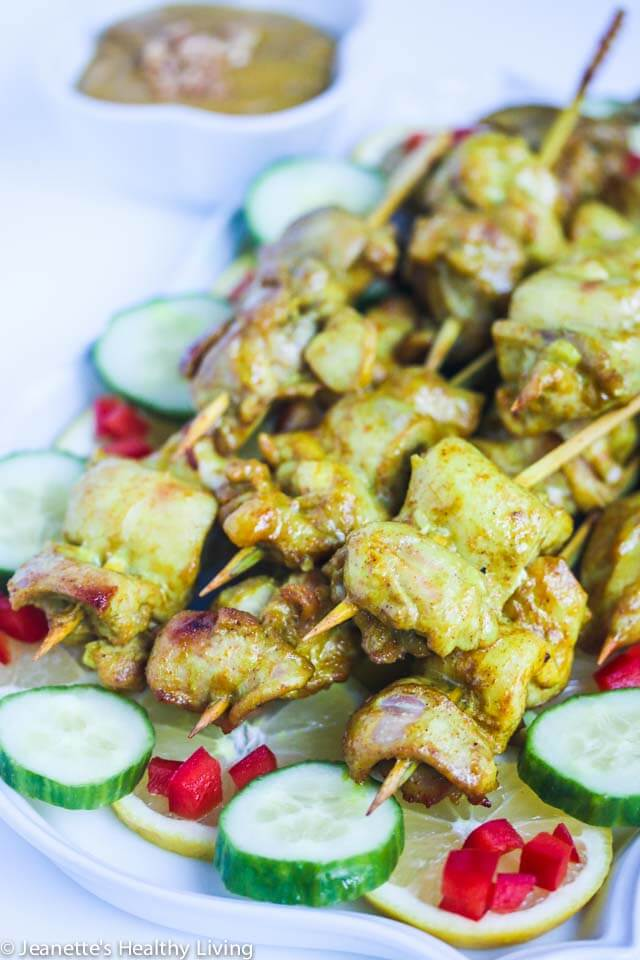 Thai Chicken Satay Skewers - these are perfect for summer barbecues as an appetizer or dinner. Serve with Thai peanut sauce | http://jeanetteshealthyliving.com