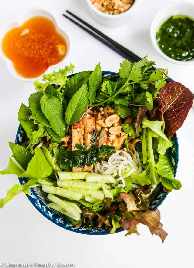 Vietnamese Cool Noodle Bowl with Lemongrass Chicken and Vietnamese Dipping Sauce