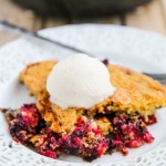 Raspberry Blueberry Oatmeal Cake - this healthy cake features fresh summer berries and whole grain oat flour - you could almost eat this for breakfast! ~ http://jeanetteshealthyliving.com