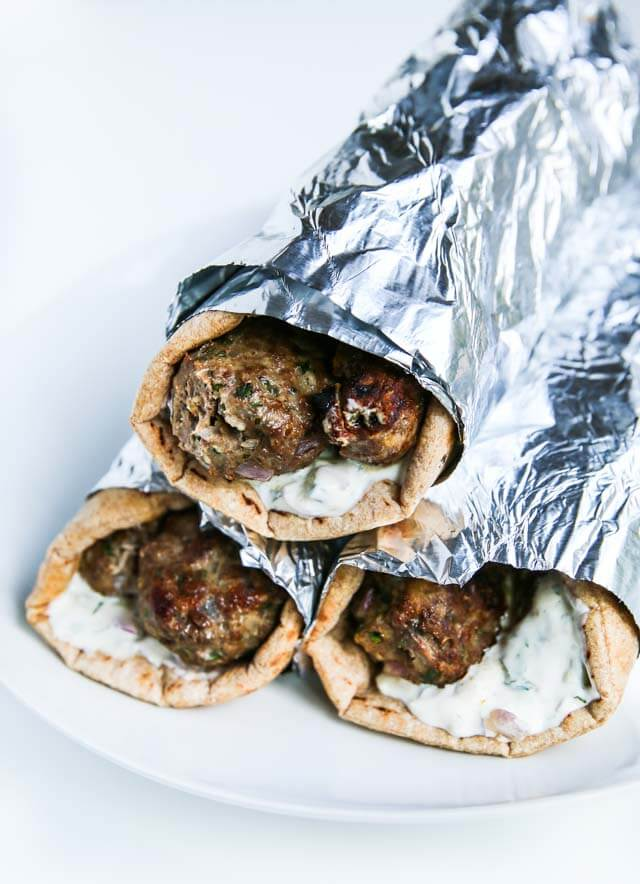 Turkey Beef Kofta Kebabs - these meatball kebabs are packed with flavor - serve in a pita or on top of a salad with tzatziki sauce ~ http://jeanetteshealthyliving.com