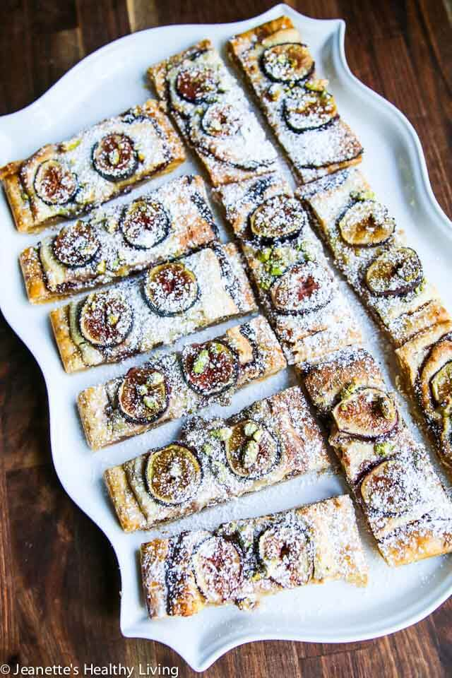 Gluten Free Fig Frangipane Tart - made with gluten free puff pastry, this elegant tart features fresh figs, frangipane and pistachios ~ http://jeanetteshealthyliving.com