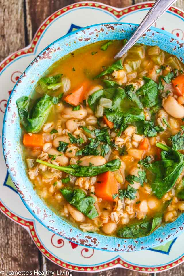 Spinach Vegetable Barley Bean Soup - a nutritious, hearty soup packed with vitamins, minerals, and antioxidants - perfect for Fall and Winter ~ http://jeanetteshealthyliving.com