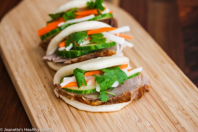 Sous Vide Pork Loin Banh Mi Buns - sous vide pork loin is juicy and tender, and makes a delicious appetizer or small bite served with pickles, cucumber and black garlic mayonnaise