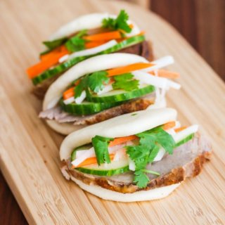 Sous Vide Pork Banh Mi Buns - sous vide pork is juicy and tender, and makes a delicious appetizer or small bite served with pickles, cucumber and black garlic mayonnaise