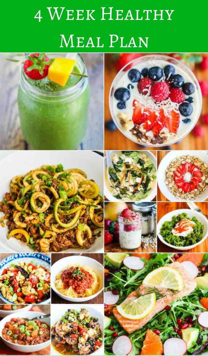 4 Week Healthy Eating Meal Plan - get back on track to healthy diet with these breakfast and dinner recipes, made with whole foods - nothing processed