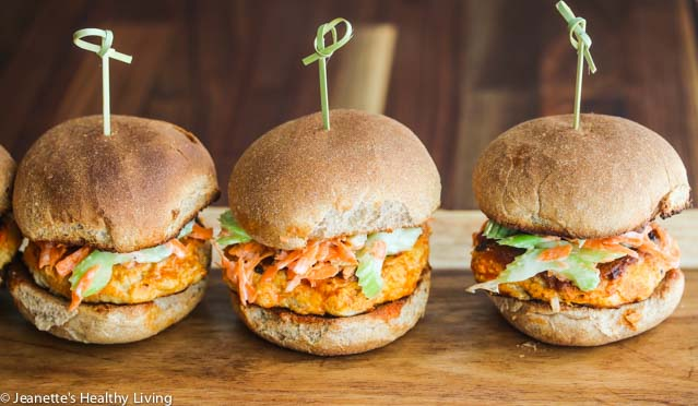 Buffalo Chicken Burgers With Celery Carrot Slaw have all the flavors of the ever popular Buffalo chicken wing in slider form. They're perfect for Game Day, Super Bowl parties, or pretty much any party.