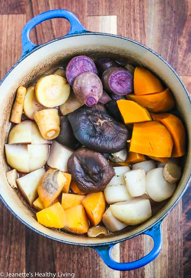 Japanese Root Vegetable Stew (Nishime) is a simple, nourishing, healing vegetarian dish believed to give strong, calm energy.