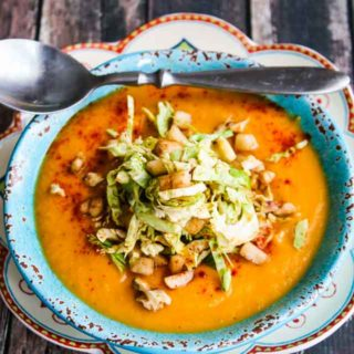 Roasted Root Vegetable Soup with Brussels Sprout Pear Topping