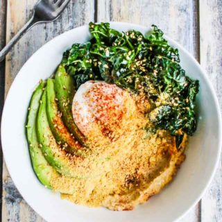 Avocado Kale Hummus Oatmeal Breakfast Bowl Recipe