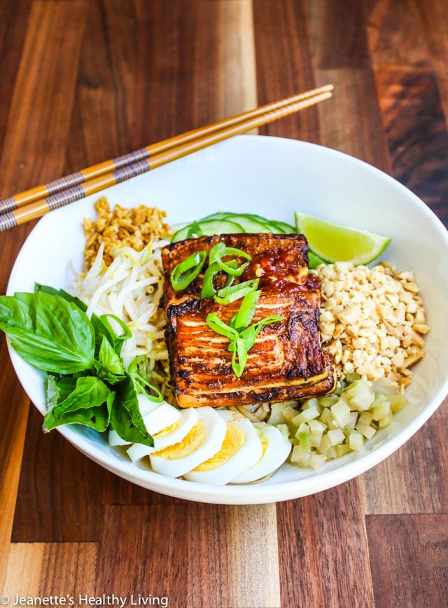 Cambodian Sweet Soy Noodle Bowl - vegetarian (vegan adaptable) lunch/dinner with broiled tofu, crushed peanuts, pickled vegetables, bean sprouts and hard boiled egg