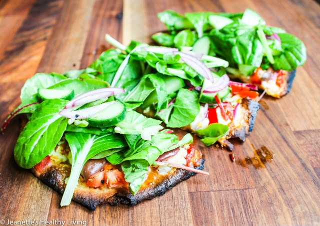 Grilled Greek Salad Pizza - all the flavors of Greek salad on a pizza