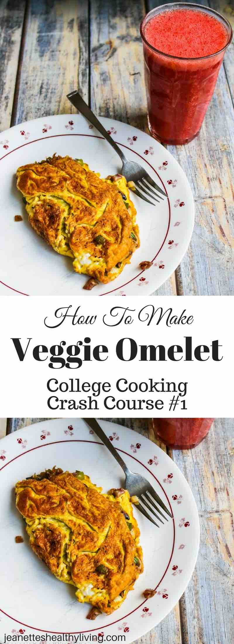 Kyle's First Veggie Omelet - college student crash cooking course