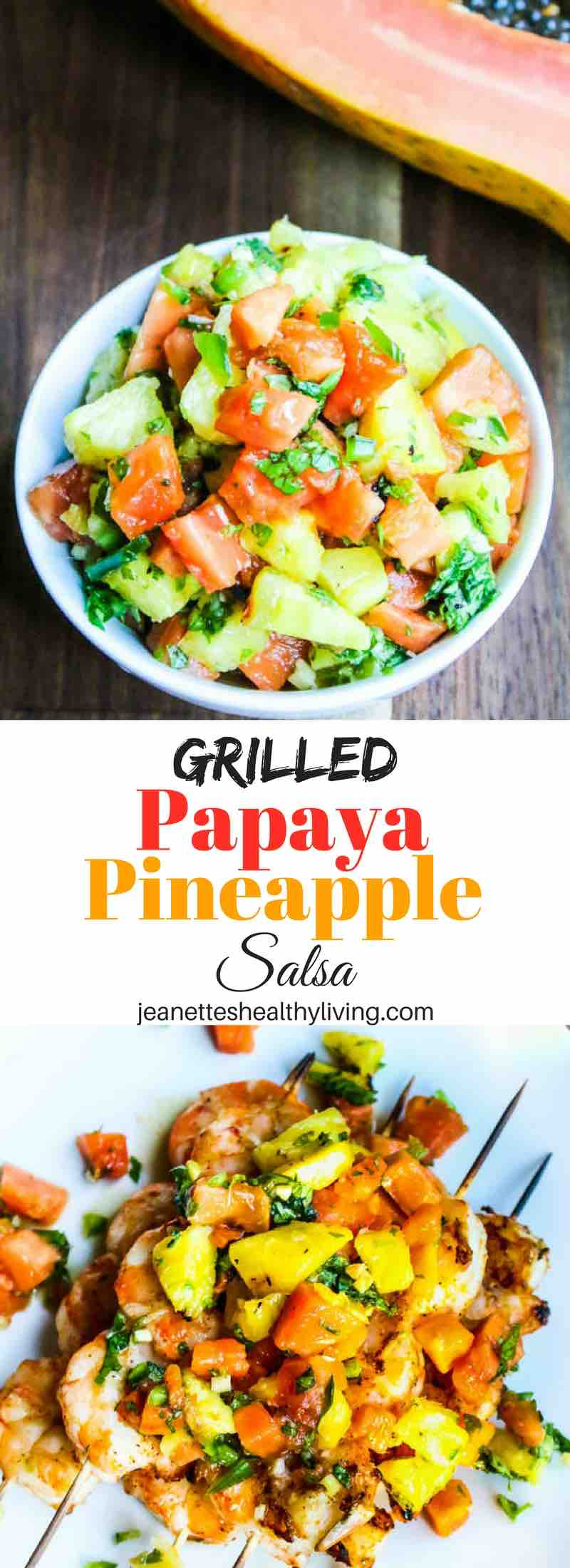 Grilled Papaya Pineapple Salsa - grilling fruit concentrates the sugar and flavor - serve this sweet salsa over grilled shrimp, fish or chicken