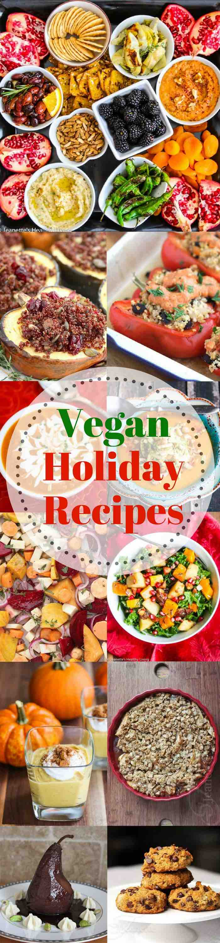 Vegan Holiday Recipes - please all of your guests with these vegan appetizer, soup, main course, side dish and dessert ideas. TIps for converting recipes to vegan.