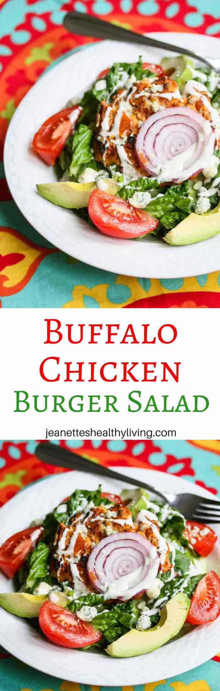 Buffalo Chicken Burger Salad Recipe - simple, delicious and great when you're craving Buffalo chicken but want to keep lunch or dinner light.