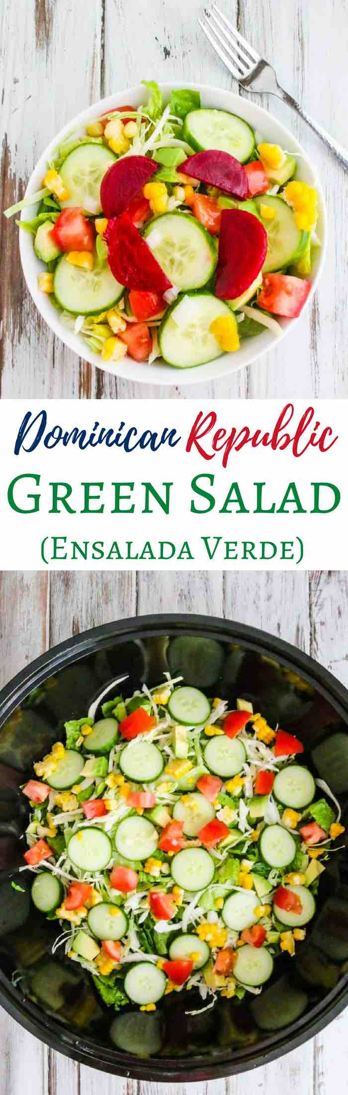 Dominican Republic Green Salad - simple, healthy delicious salad with sweet corn