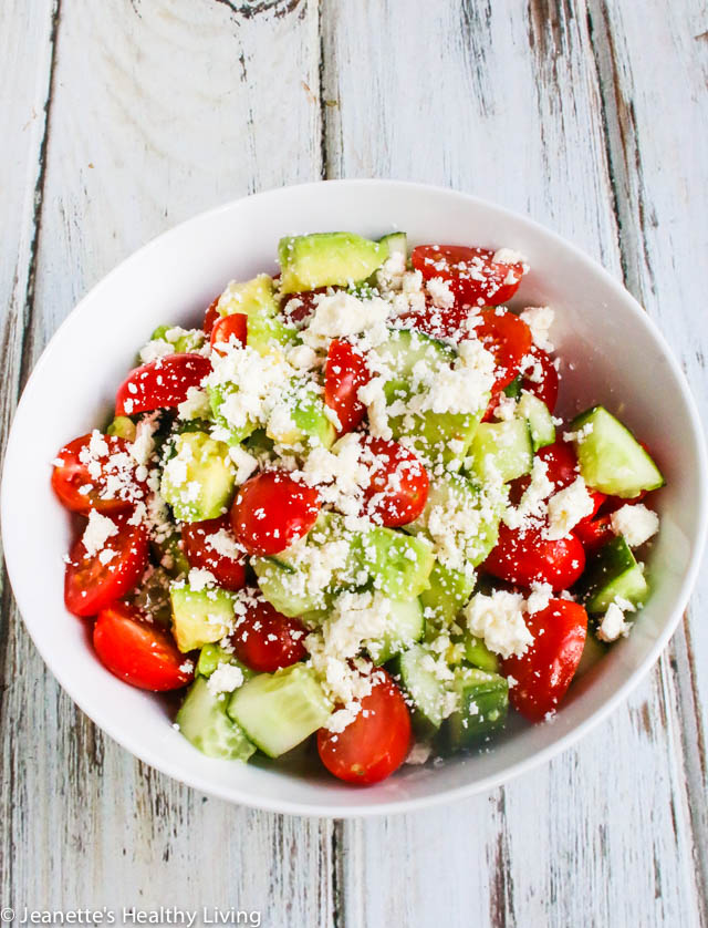 Avocado Tomato Cucumber Feta Salad - simple, delicious, healthy summer salad for lunch or dinner
