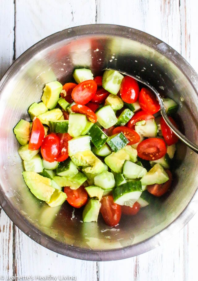 Avocado Tomato Cucumber Salad - simple, delicious, healthy summer salad for lunch or dinner