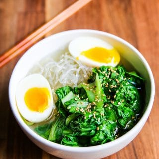 Low Carb Bok Choy Egg Ramen Noodle Soup