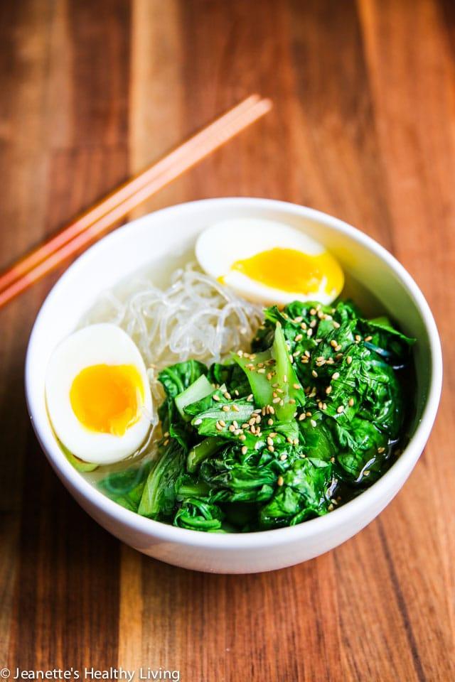 Low Carb Bok Choy Egg Ramen Noodle Soup - healthy, delicious, easy ramen noodle soup