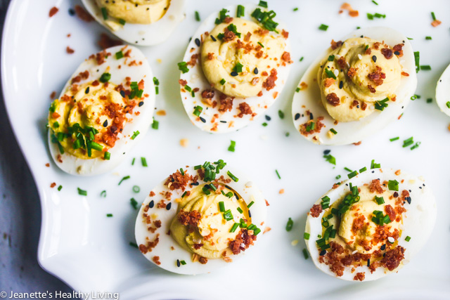 Bacon Dust Everything Bagel Deviled Eggs - party pleaser - stunning and delicious!