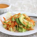 Romaine Lettuce, Avocado and Carrot Salad with Carrot Ginger Salad Dressing