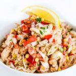 Chipotle Crab Corn Dip - this fresh, light crab dip has lots of fresh vegetables and gets a kick from homemade chipotle aioli