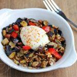Eggplant Pepper Mushroom Sausage Hash © Jeanette