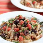 Pasta with Tuna Black Olives and Tomatoes