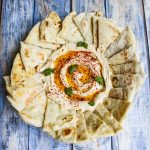 Homemade Pita and Israeli Hummus with Shug - part of a Shabbat dinner I enjoyed in Israel