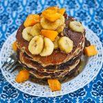 Oatmeal Almond Pancakes with Maple Mango Banana Topping