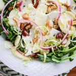 Shaved Cauliflower Salad with Pickled Onion Pears Brussels Sprouts Watercress Medjool Dates and Cashews - crunchy, juicy and sweet, this healthy salad is drizzled with a honey balsamic flax seed oil dressing