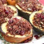 Roasted Acorn Squash Stuffed with Quinoa Mushroom Pilaf