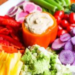 Sun Dried Tomato Hummus with Crudite Platter - this delicious sun dried tomato hummus compliments this rainbow of vegetables perfectly