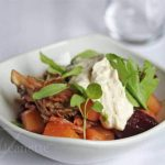 Warm Beet Salad with Foraged Mushrooms at Dressing Room in Westport, CT