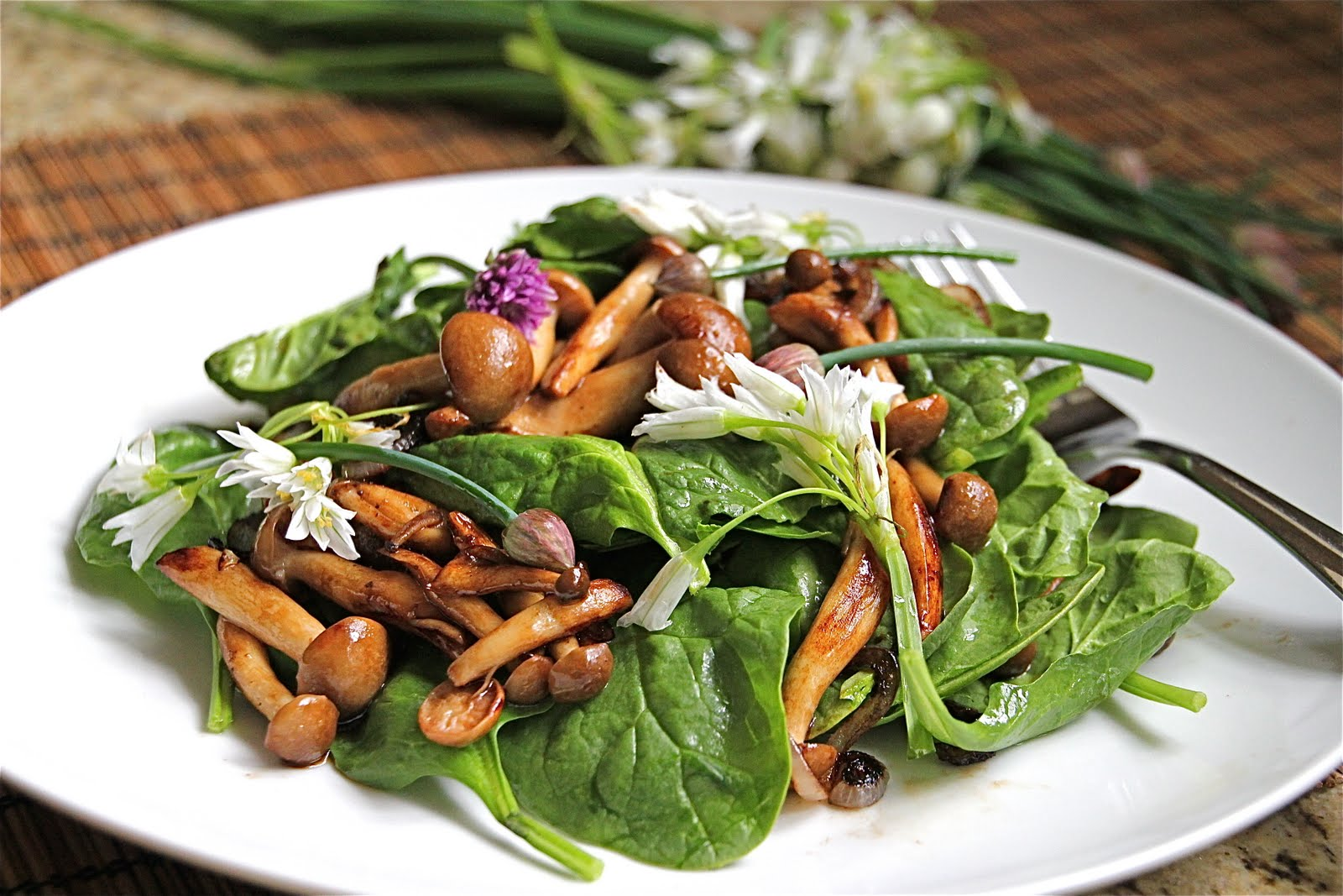 Warm Mushroom Spinach Salad made extra special with Arugula and Chive ...