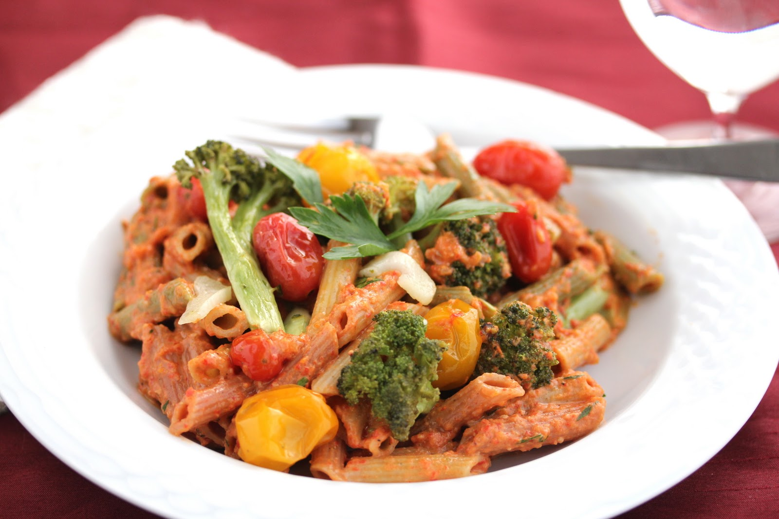 Whole Grain Pasta with Roasted Red Pepper Carrot Pesto, Roasted ...