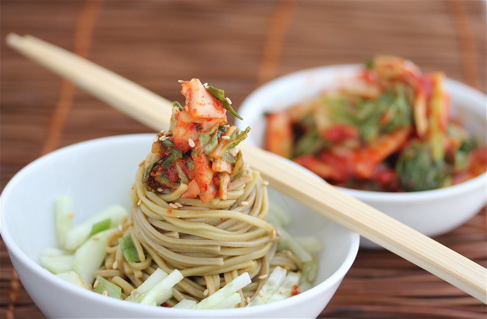 CSA Box #6: Cold Kim Chi Cucumber Soba Noodle Salad Recipe - Jeanette ...