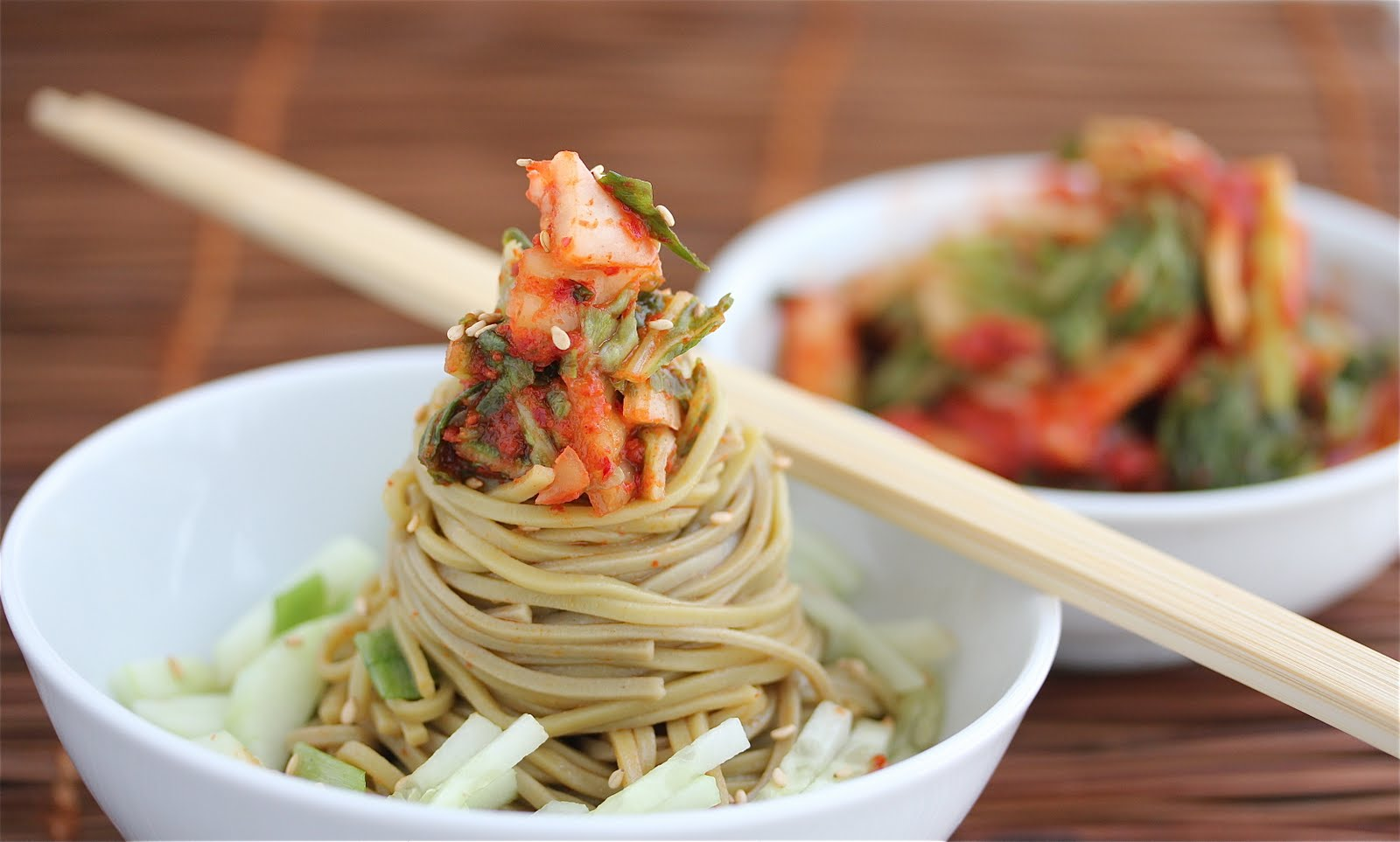 Cold Kim Chi Cucumber Soba Noodle Salad