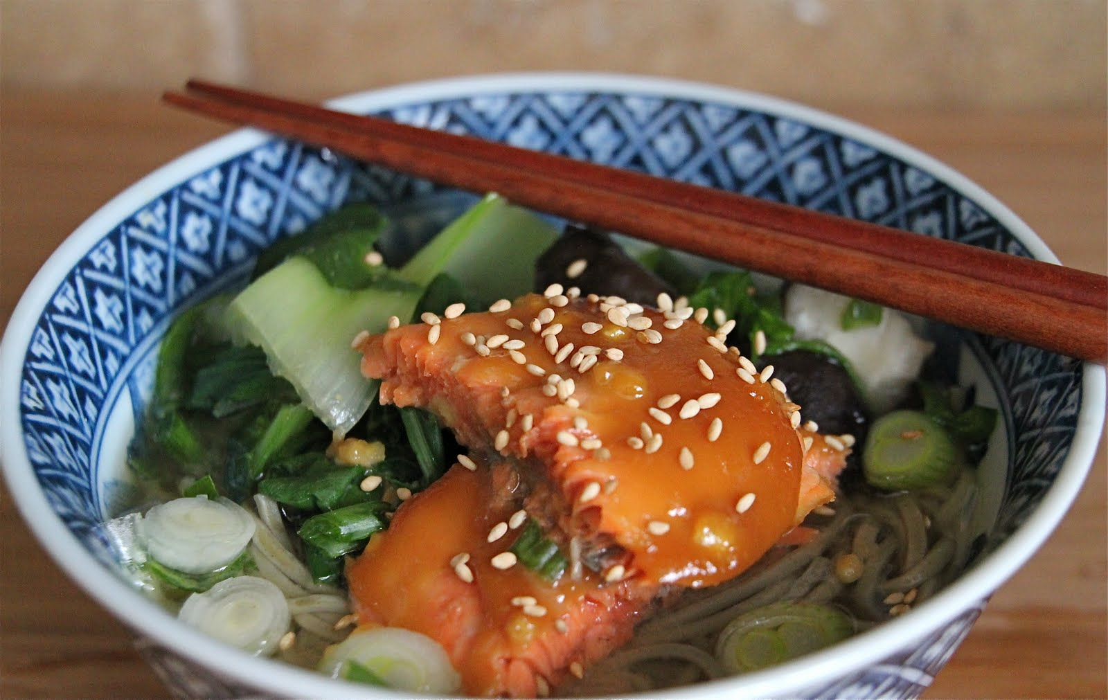 Easy Honey Miso Glazed Salmon and Soba Noodle Soup - Jeanette's ...