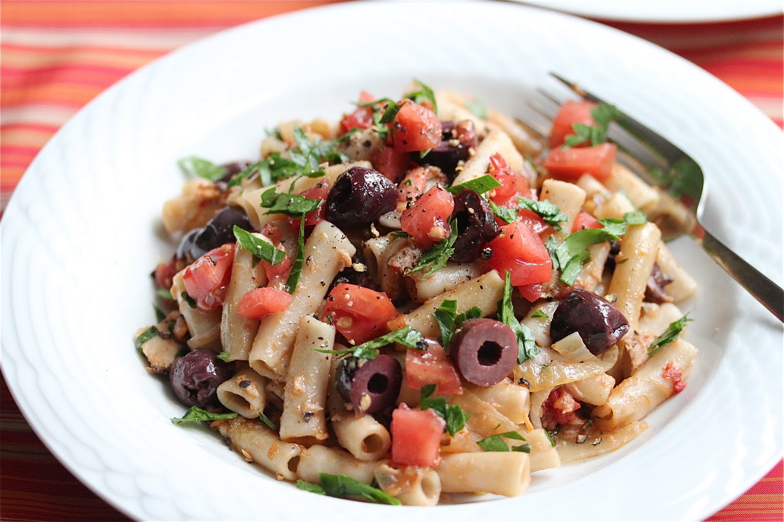 Penne with Tuna Plum Tomatoes and Black Olives Recipe ...