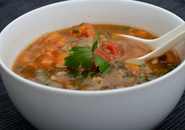 French Lentil Soup with Barley and Rainbow Chard