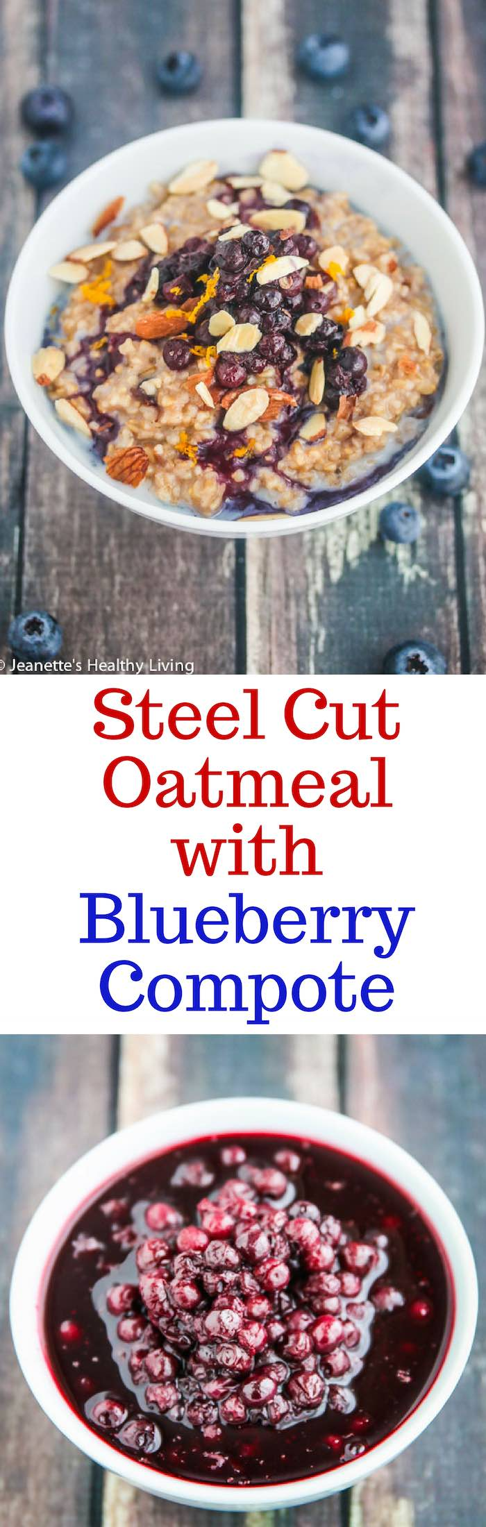 Steel Cut Oatmeal with Blueberry Compote - healthy warm spiced oats for breakfast with vibrant blueberry topping