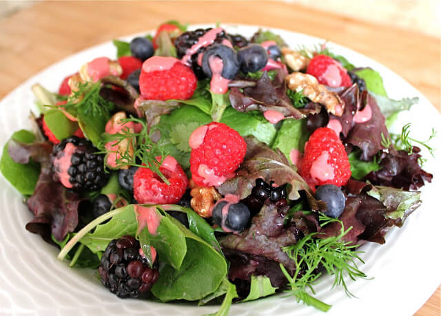 Fresh Berry Salad and a Creamy Raspberry Dressing Recipe