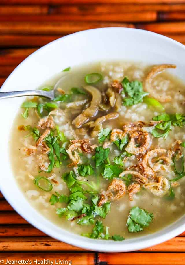Turkey Brown Rice Congee - this savory breakfast porridge is a great way to use leftover turkey bones from Thanksgiving